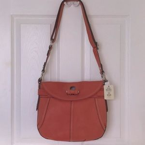Fossil Fifty Four Leather Saddle Bag Crossbody Vtg
